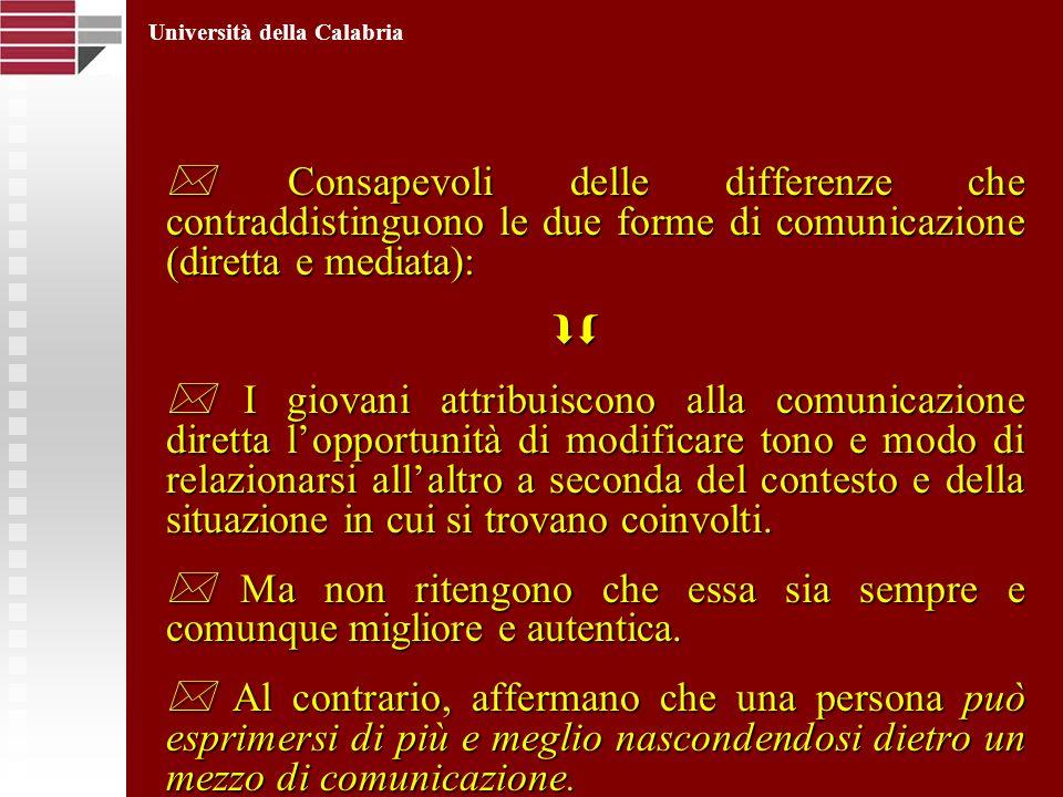 Consapevoli delle differenze che contraddistinguono le due forme di comunicazione (diretta e mediata): Consapevoli delle differenze che contraddisting