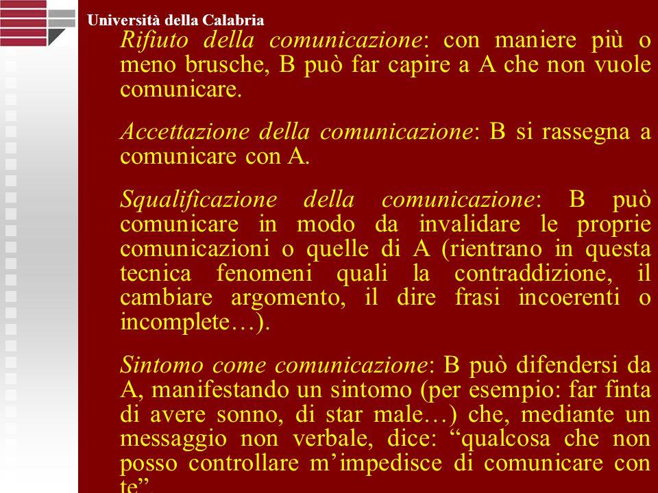 Università della Calabria Rifiuto della comunicazione: con maniere più o meno brusche, B può far capire a A che non vuole comunicare. Accettazione del