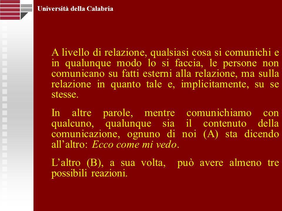 Università della Calabria A livello di relazione, qualsiasi cosa si comunichi e in qualunque modo lo si faccia, le persone non comunicano su fatti est