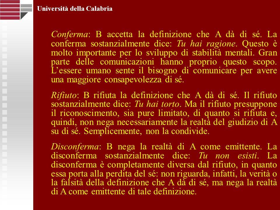 Università della Calabria Conferma: B accetta la definizione che A dà di sé. La conferma sostanzialmente dice: Tu hai ragione. Questo è molto importan
