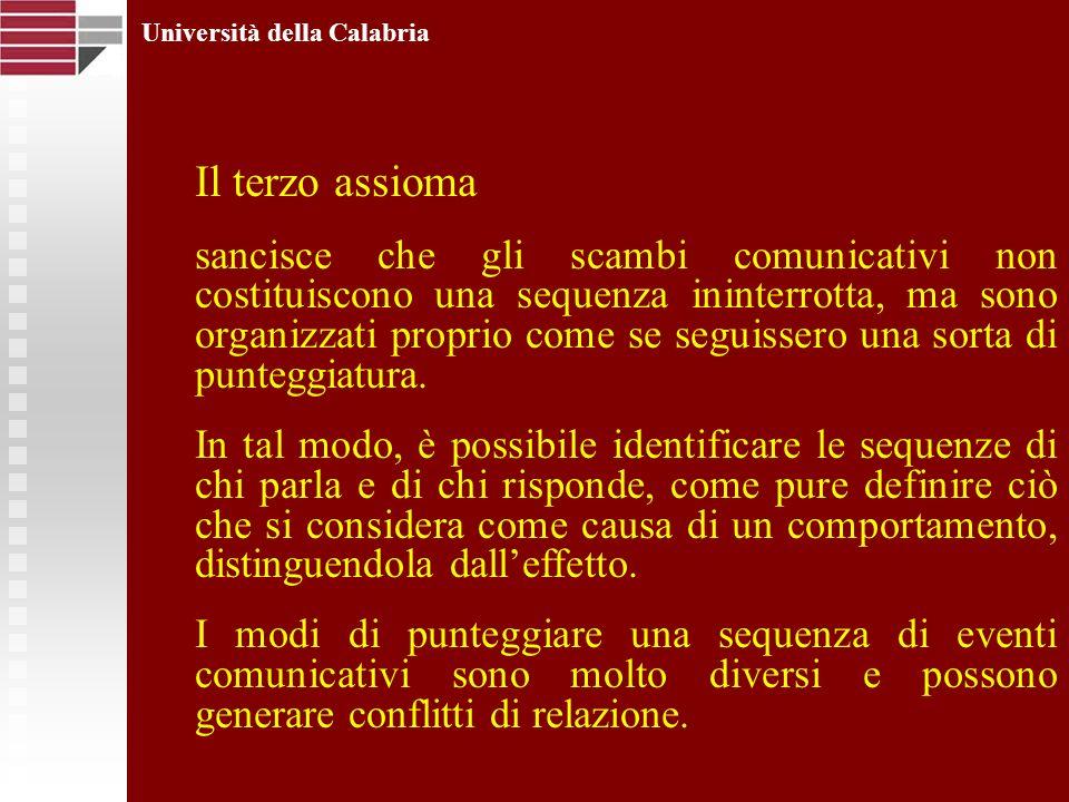 Università della Calabria Il terzo assioma sancisce che gli scambi comunicativi non costituiscono una sequenza ininterrotta, ma sono organizzati propr