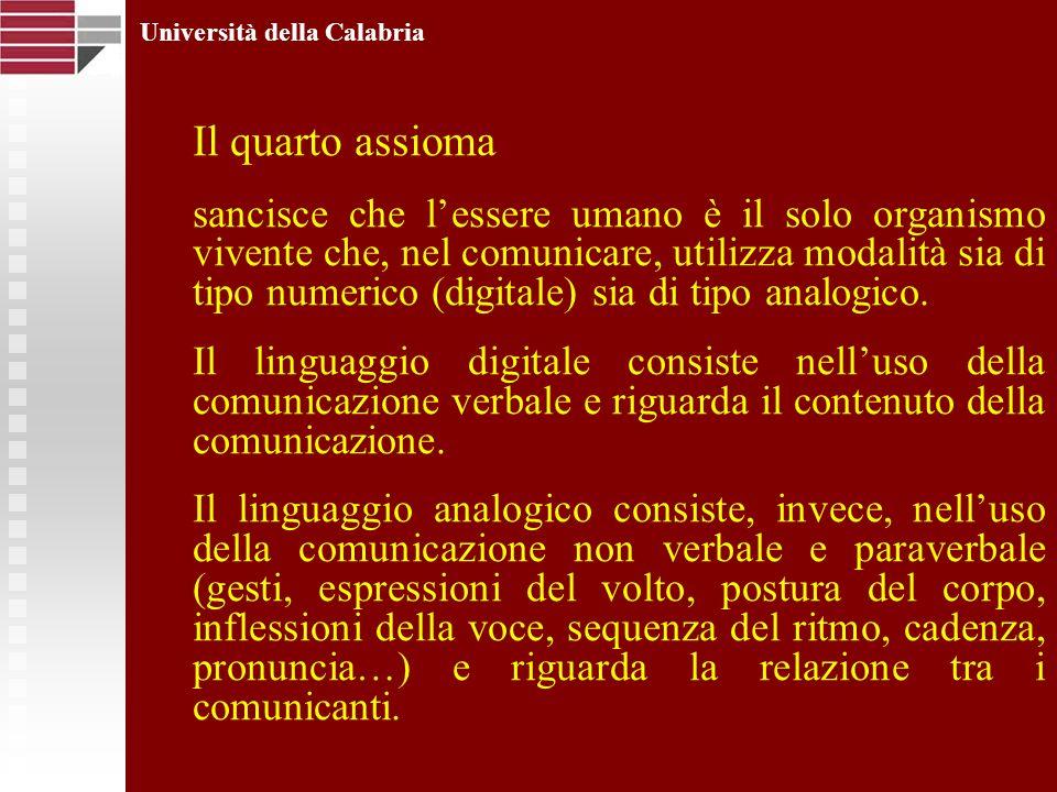 Università della Calabria Il quarto assioma sancisce che lessere umano è il solo organismo vivente che, nel comunicare, utilizza modalità sia di tipo