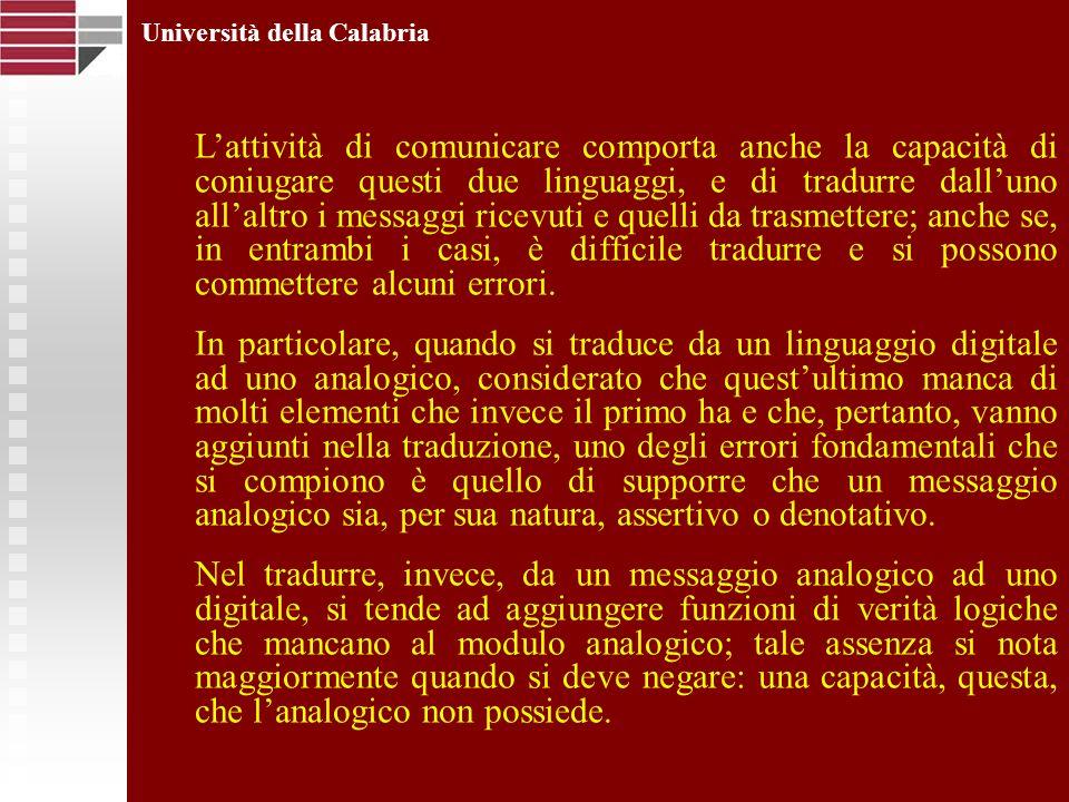 Università della Calabria Lattività di comunicare comporta anche la capacità di coniugare questi due linguaggi, e di tradurre dalluno allaltro i messa