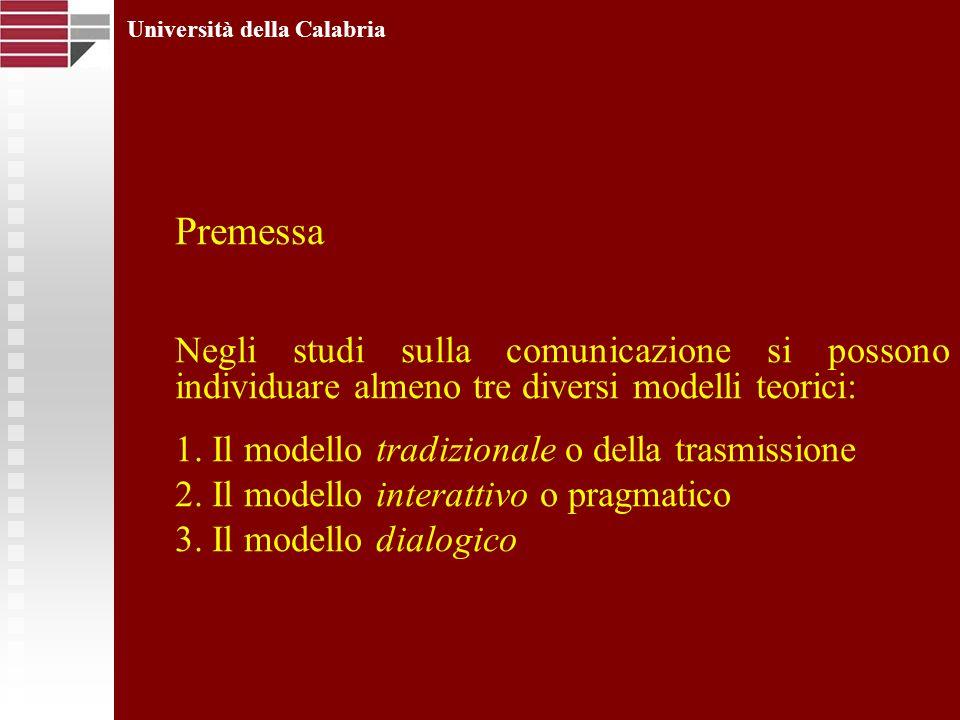 Premessa Negli studi sulla comunicazione si possono individuare almeno tre diversi modelli teorici: 1. Il modello tradizionale o della trasmissione 2.