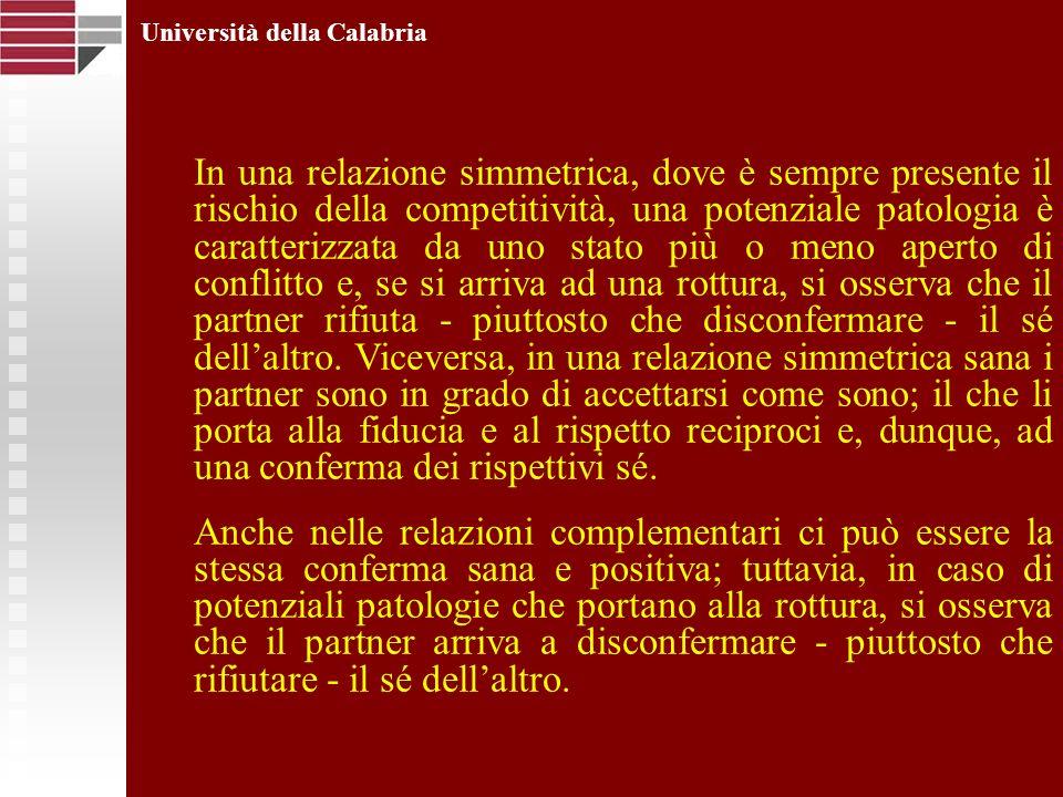 Università della Calabria In una relazione simmetrica, dove è sempre presente il rischio della competitività, una potenziale patologia è caratterizzat