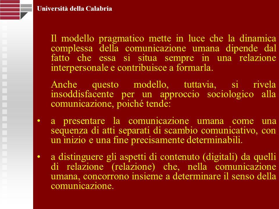 Università della Calabria Il modello pragmatico mette in luce che la dinamica complessa della comunicazione umana dipende dal fatto che essa si situa