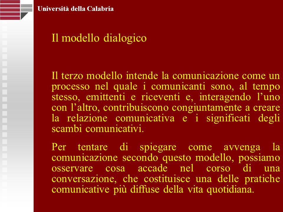 Università della Calabria Il modello dialogico Il terzo modello intende la comunicazione come un processo nel quale i comunicanti sono, al tempo stess