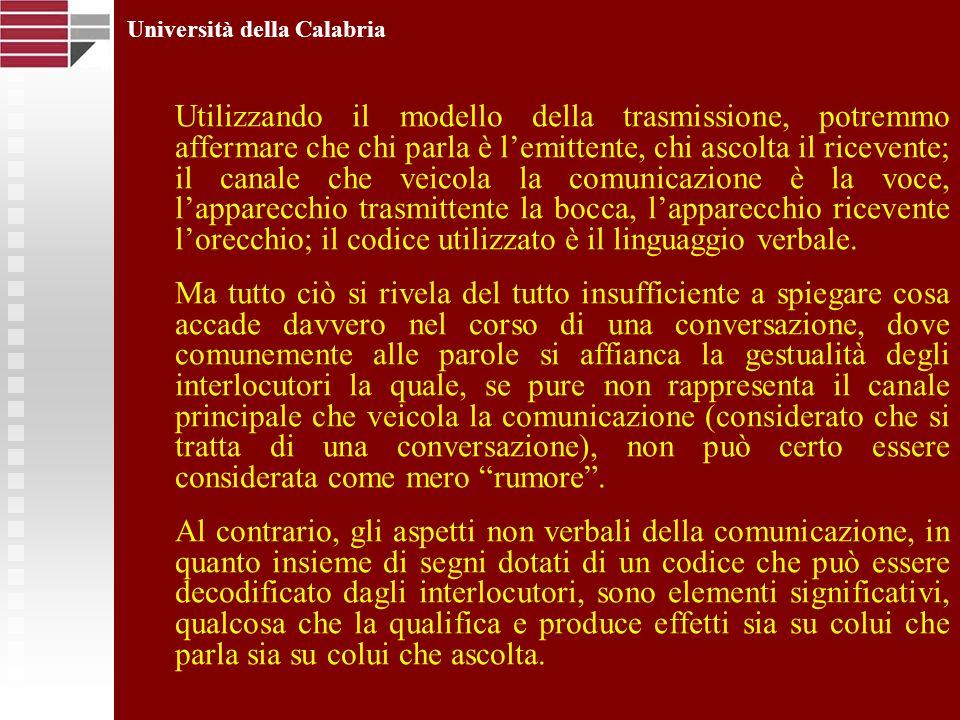 Università della Calabria Utilizzando il modello della trasmissione, potremmo affermare che chi parla è lemittente, chi ascolta il ricevente; il canal