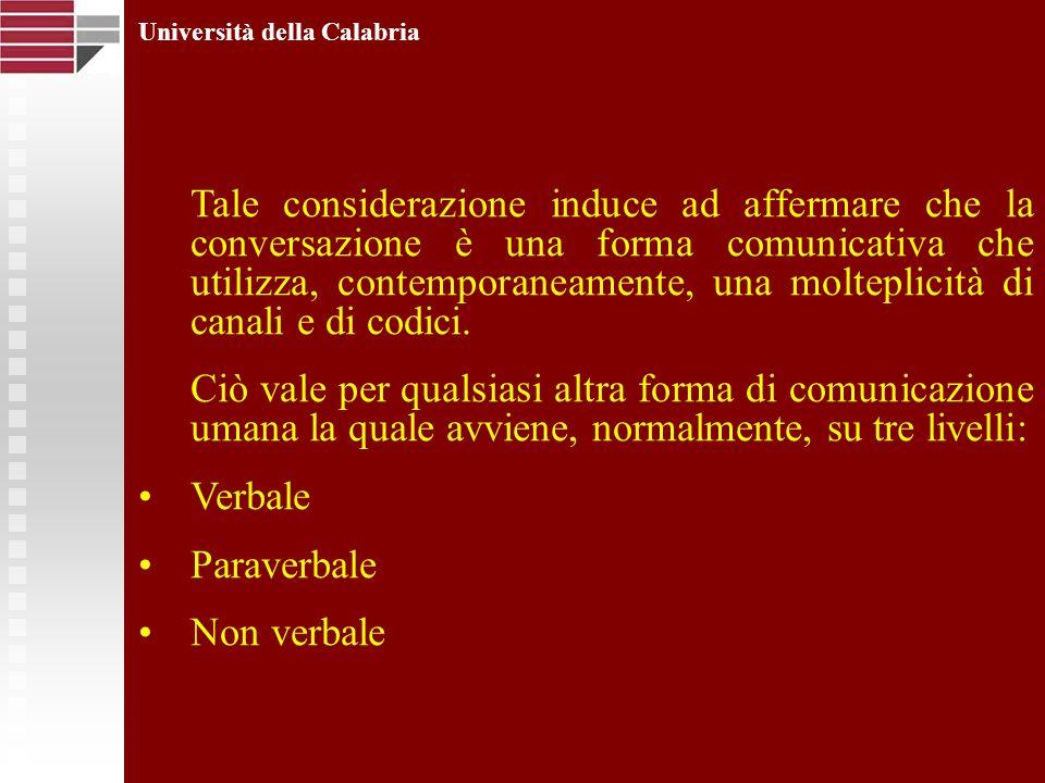 Università della Calabria Tale considerazione induce ad affermare che la conversazione è una forma comunicativa che utilizza, contemporaneamente, una
