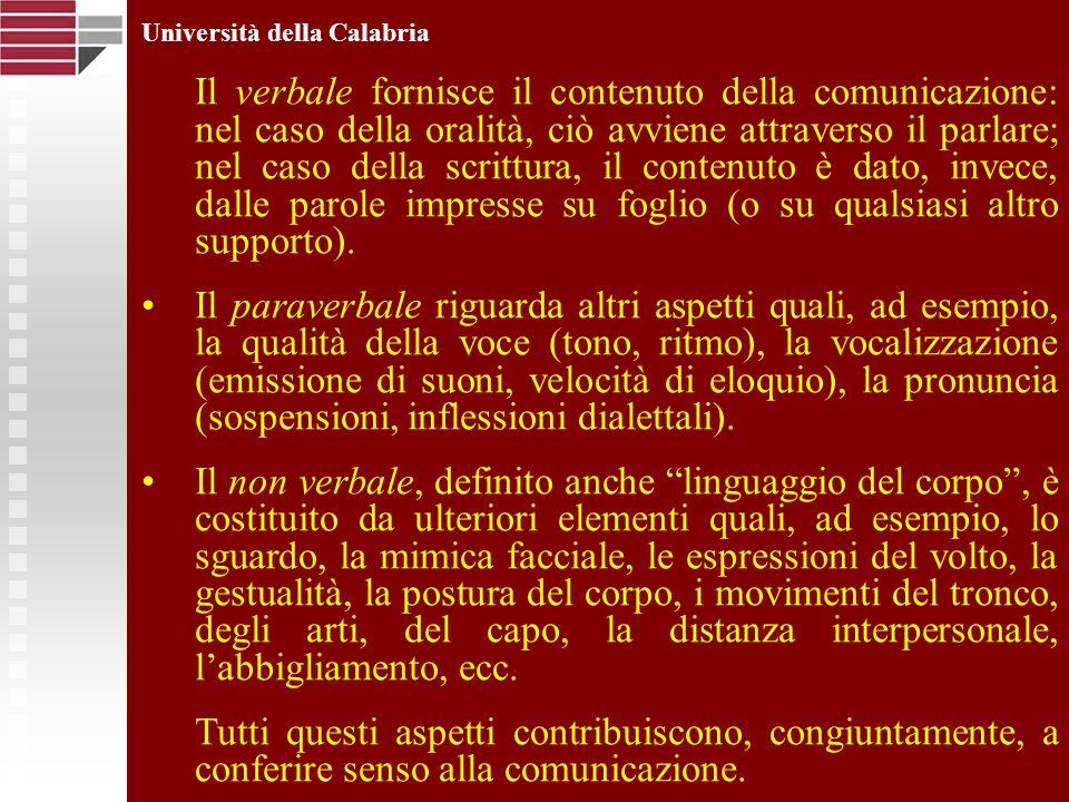 Università della Calabria Il verbale fornisce il contenuto della comunicazione: nel caso della oralità, ciò avviene attraverso il parlare; nel caso de