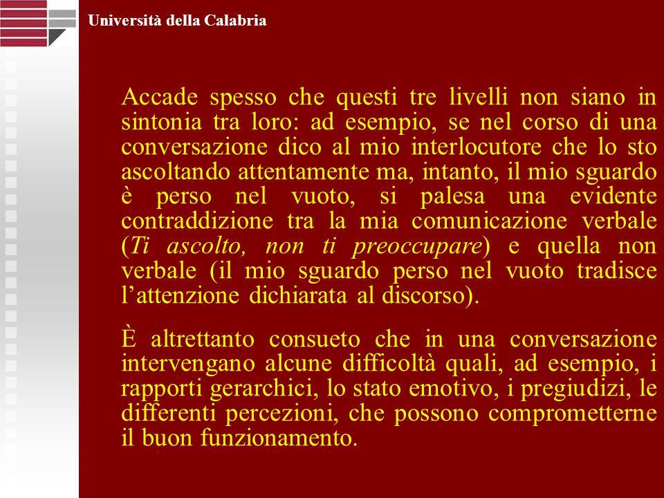 Università della Calabria Accade spesso che questi tre livelli non siano in sintonia tra loro: ad esempio, se nel corso di una conversazione dico al m