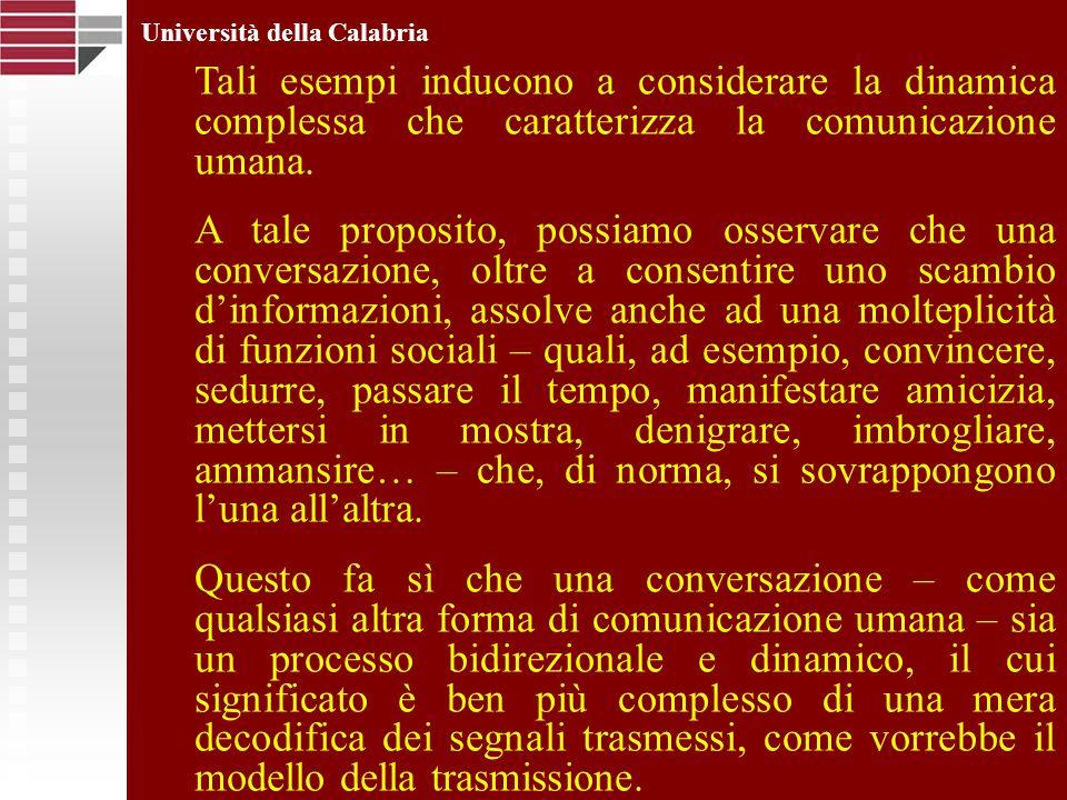 Università della Calabria Tali esempi inducono a considerare la dinamica complessa che caratterizza la comunicazione umana. A tale proposito, possiamo