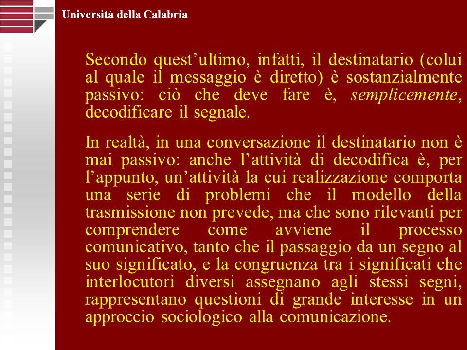 Università della Calabria Secondo questultimo, infatti, il destinatario (colui al quale il messaggio è diretto) è sostanzialmente passivo: ciò che dev