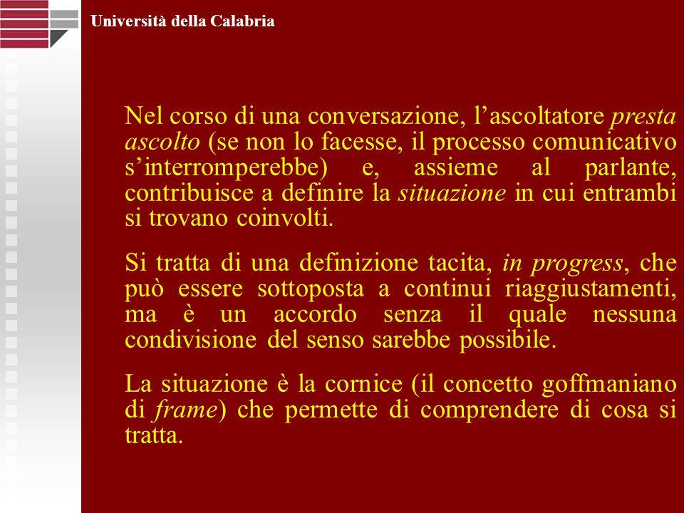 Università della Calabria Nel corso di una conversazione, lascoltatore presta ascolto (se non lo facesse, il processo comunicativo sinterromperebbe) e