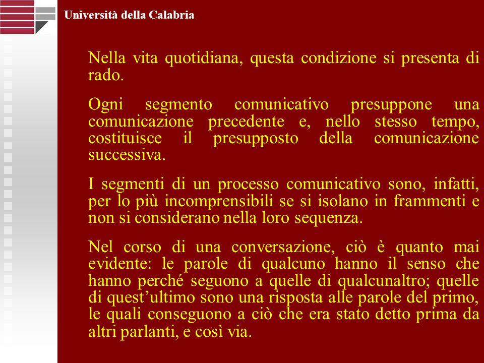 Università della Calabria Nella vita quotidiana, questa condizione si presenta di rado. Ogni segmento comunicativo presuppone una comunicazione preced