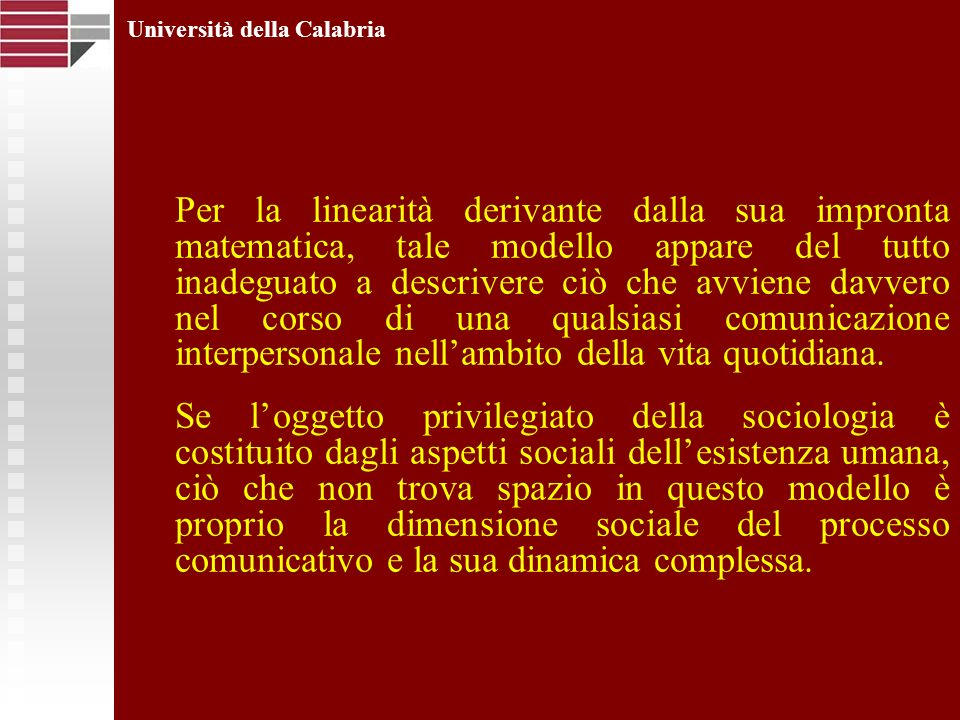 Università della Calabria Per la linearità derivante dalla sua impronta matematica, tale modello appare del tutto inadeguato a descrivere ciò che avvi