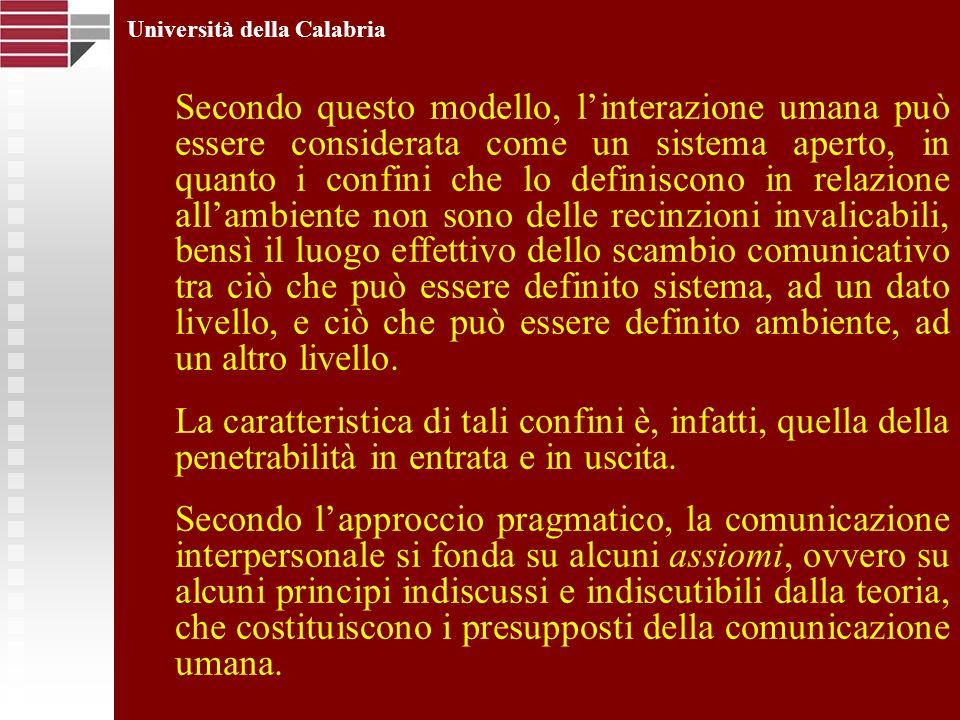 Università della Calabria Secondo questo modello, linterazione umana può essere considerata come un sistema aperto, in quanto i confini che lo definis