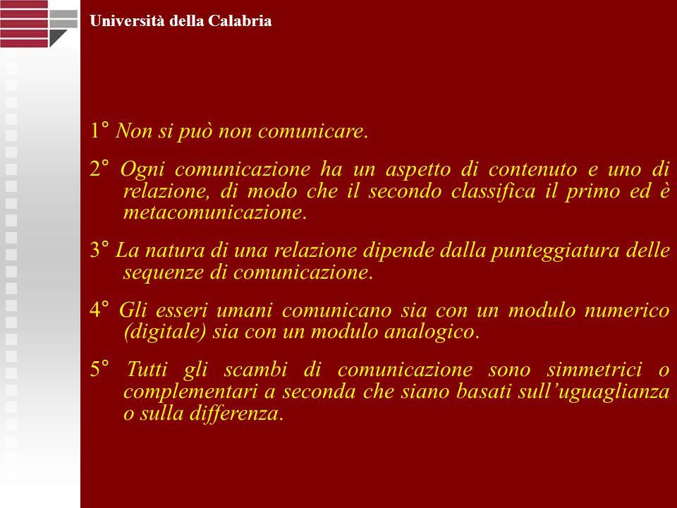 Università della Calabria 1° Non si può non comunicare. 2° Ogni comunicazione ha un aspetto di contenuto e uno di relazione, di modo che il secondo cl