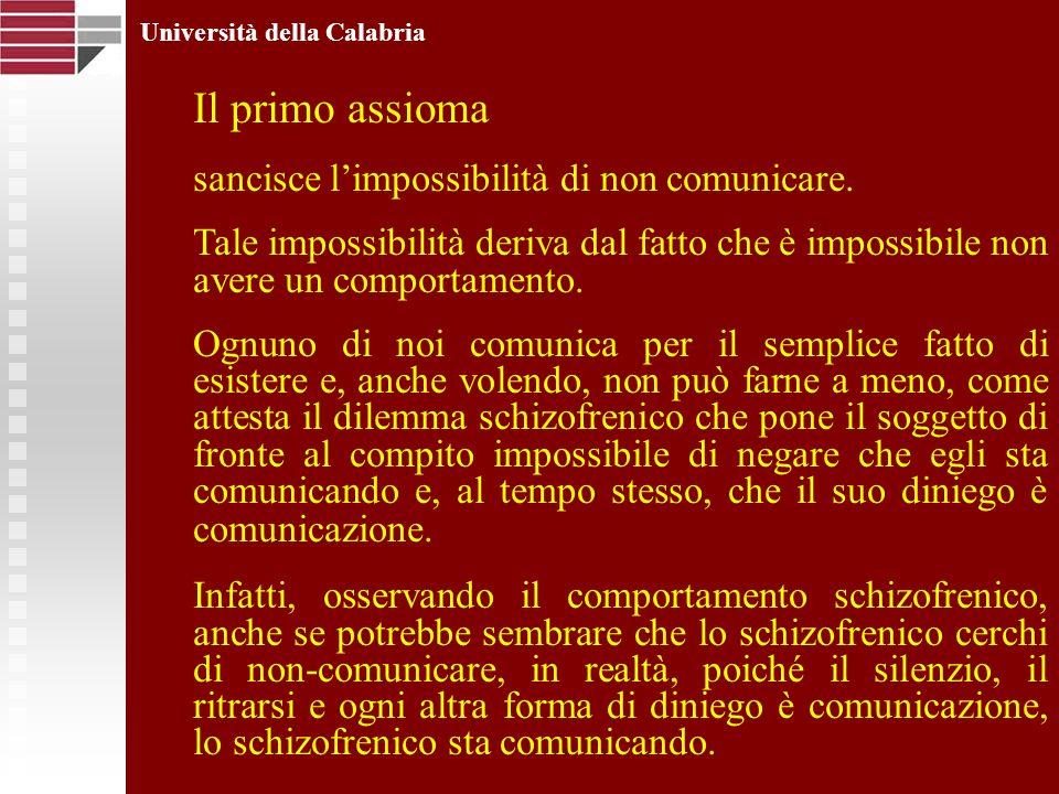 Università della Calabria Il primo assioma sancisce limpossibilità di non comunicare. Tale impossibilità deriva dal fatto che è impossibile non avere