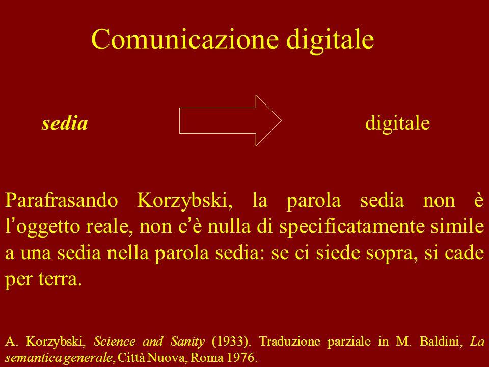 Comunicazione digitale Il simbolo esprime una relazione tra un certo segno e il significato attribuito a questo segno, relazione di tipo arbitrario, generale e convenzionale.