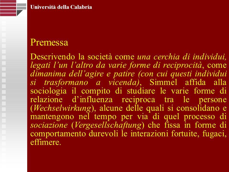 Università della Calabria Precursore della svolta comunicativa che da qualche decennio anima il dibattito in corso nelle scienze umane e sociali, Simmel anticipa di almeno un secolo il paradigma in cui sembrano trovare oggi convergenza approcci teorici differenti che, pur nella loro eterogeneità, condividono la tesi secondo la quale la società è comunicazione.