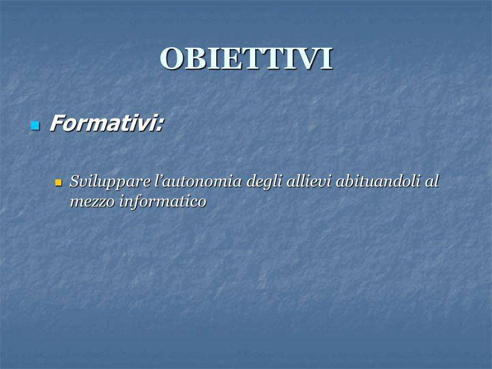 OBIETTIVI Formativi: Formativi: Sviluppare lautonomia degli allievi abituandoli al mezzo informatico Sviluppare lautonomia degli allievi abituandoli a