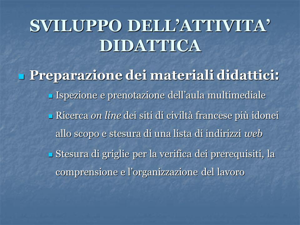 SVILUPPO DELLATTIVITA DIDATTICA Preparazione dei materiali didattici : Preparazione dei materiali didattici : Ispezione e prenotazione dellaula multim
