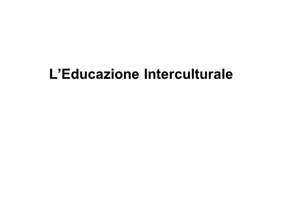 LEducazione Interculturale