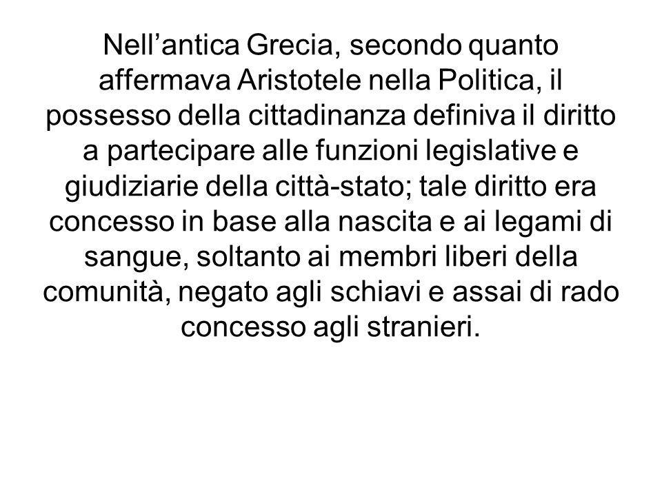 Nellantica Grecia, secondo quanto affermava Aristotele nella Politica, il possesso della cittadinanza definiva il diritto a partecipare alle funzioni
