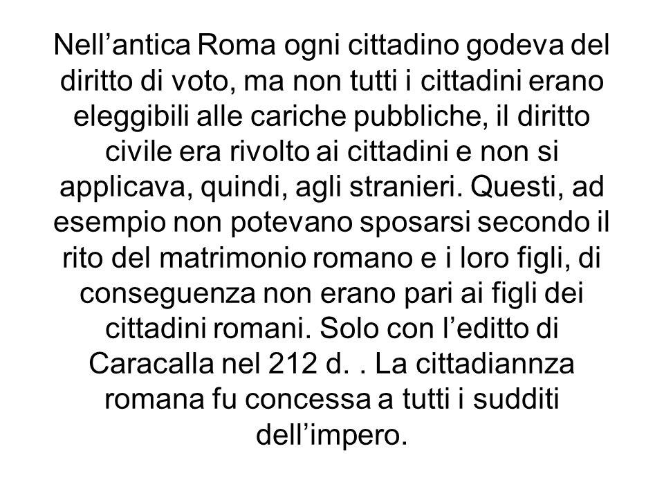 Nellantica Roma ogni cittadino godeva del diritto di voto, ma non tutti i cittadini erano eleggibili alle cariche pubbliche, il diritto civile era riv