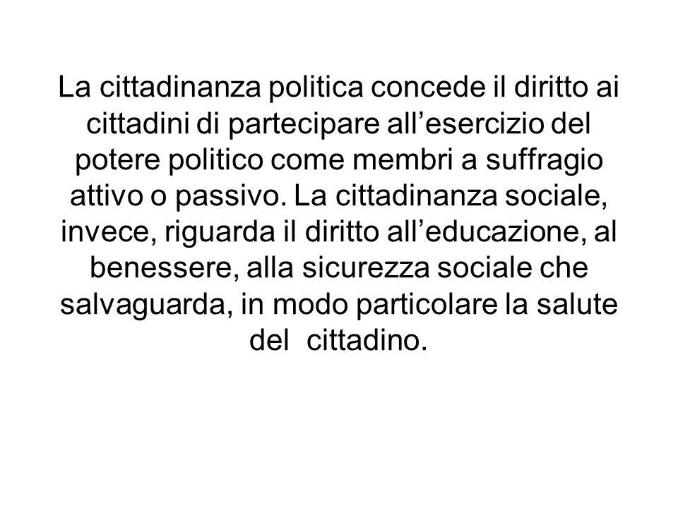 La cittadinanza politica concede il diritto ai cittadini di partecipare allesercizio del potere politico come membri a suffragio attivo o passivo. La