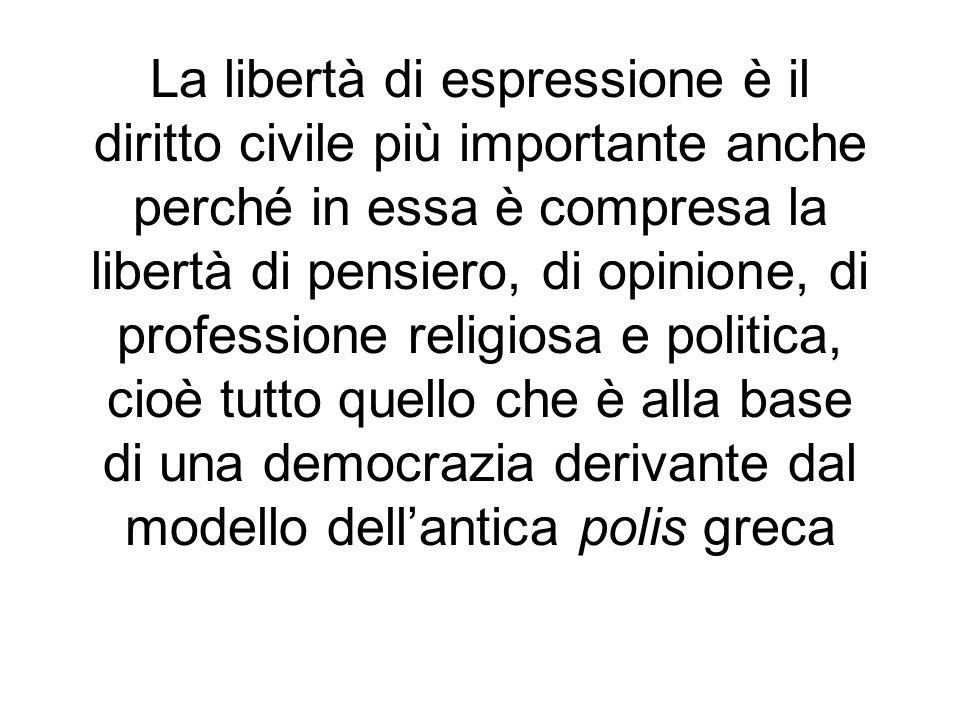 La libertà di espressione è il diritto civile più importante anche perché in essa è compresa la libertà di pensiero, di opinione, di professione relig