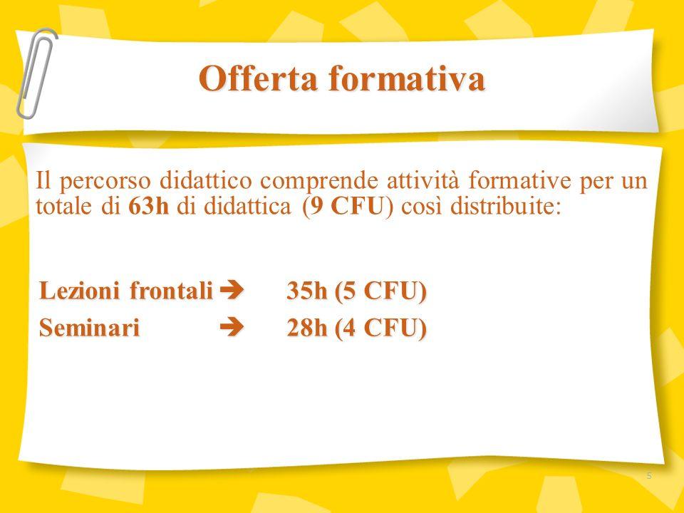Il percorso didattico comprende attività formative per un totale di 63h di didattica (9 CFU) così distribuite: Offerta formativa Lezioni frontali 35h