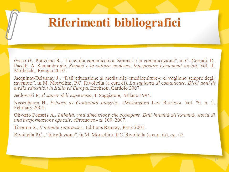 Greco G., Ponziano R., La svolta comunicativa. Simmel e la comunicazione, in C. Corradi, D. Pacelli, A. Santambrogio, Simmel e la cultura moderna. Int