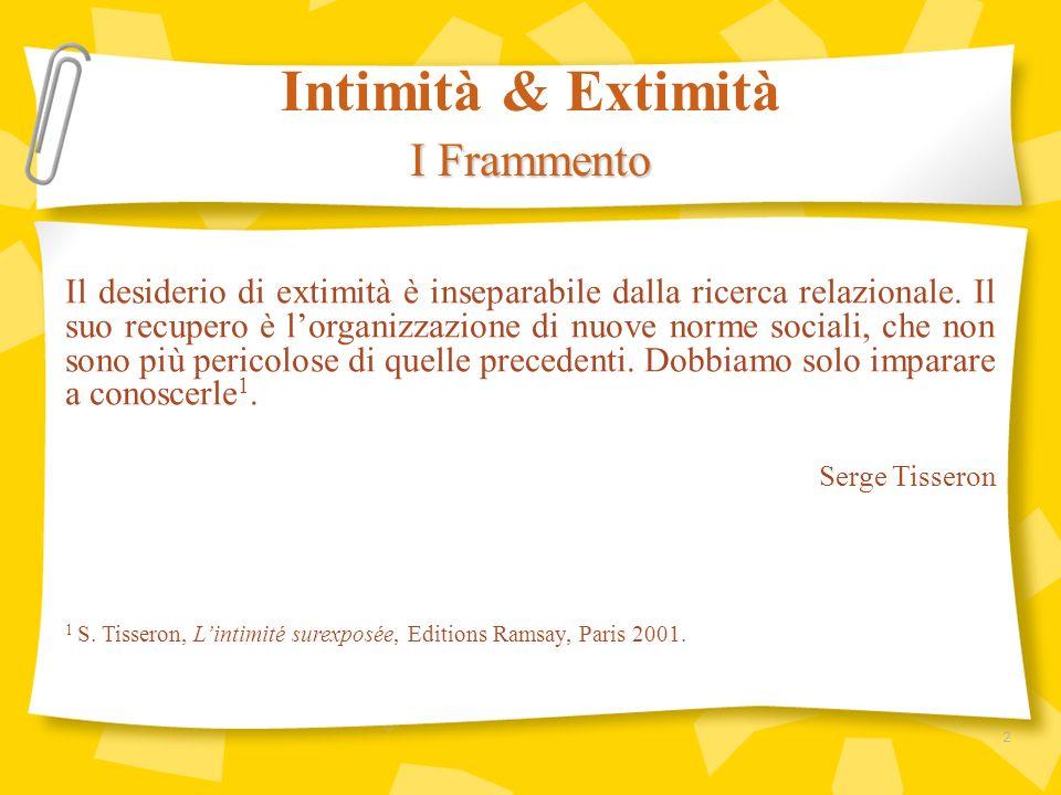 Il desiderio di extimità è inseparabile dalla ricerca relazionale. Il suo recupero è lorganizzazione di nuove norme sociali, che non sono più pericolo