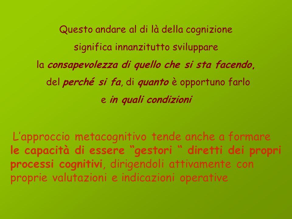 La METACOGNIZIONE ha come oggetto i processi cognitivi ed il funzionamento della mente. Assumere un atteggiamento metacognitivo significa riflettere s