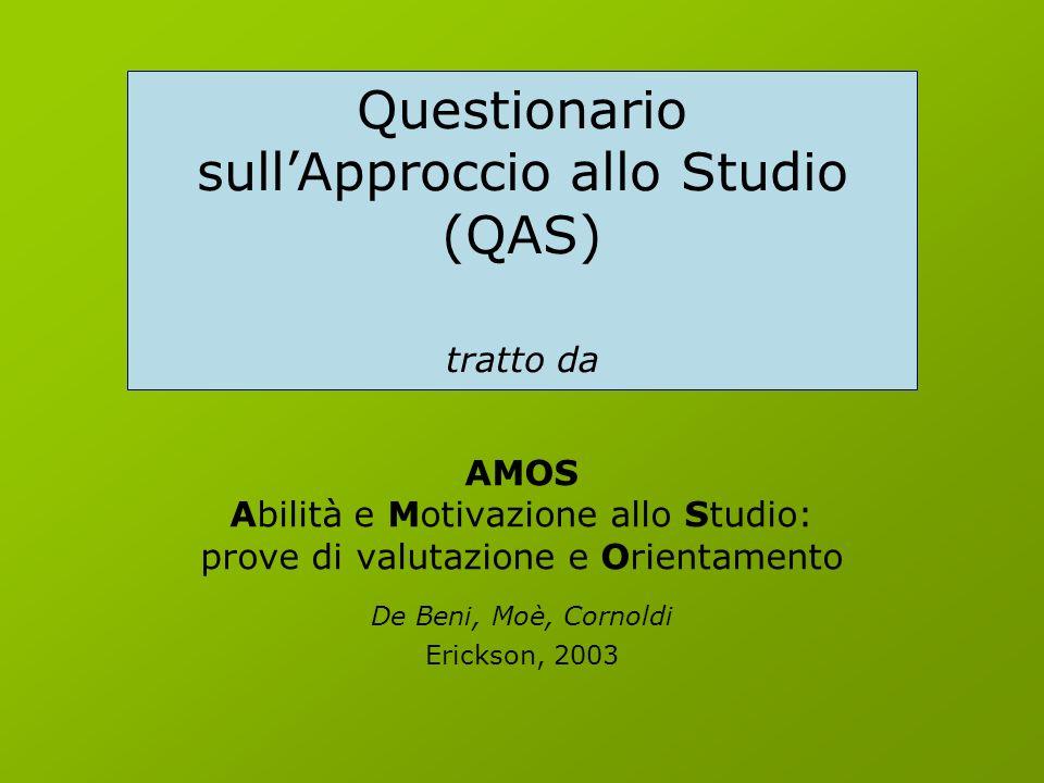 AMOS Abilità e Motivazione allo Studio: prove di valutazione e Orientamento De Beni, Moè, Cornoldi Erickson, 2003 Questionario sullApproccio allo Studio (QAS) tratto da