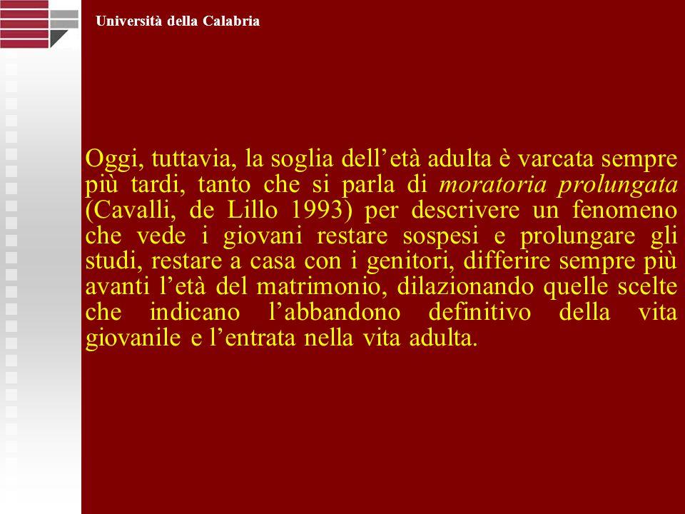 Oggi, tuttavia, la soglia delletà adulta è varcata sempre più tardi, tanto che si parla di moratoria prolungata (Cavalli, de Lillo 1993) per descriver
