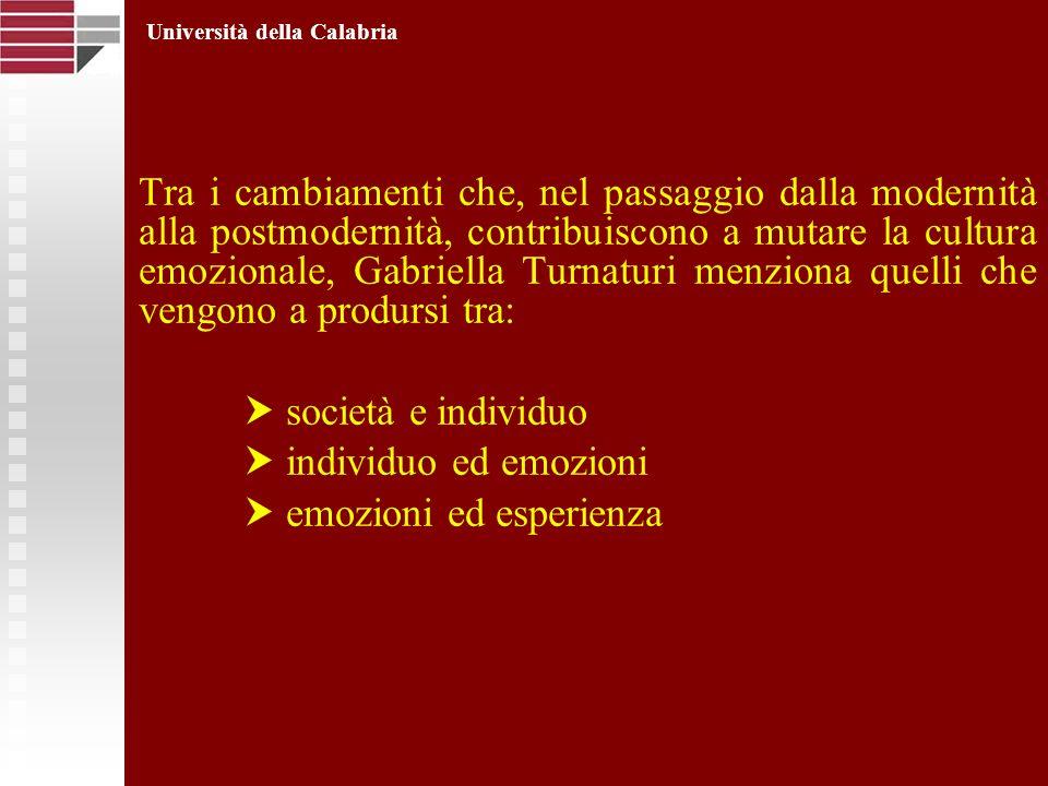 Tra i cambiamenti che, nel passaggio dalla modernità alla postmodernità, contribuiscono a mutare la cultura emozionale, Gabriella Turnaturi menziona q