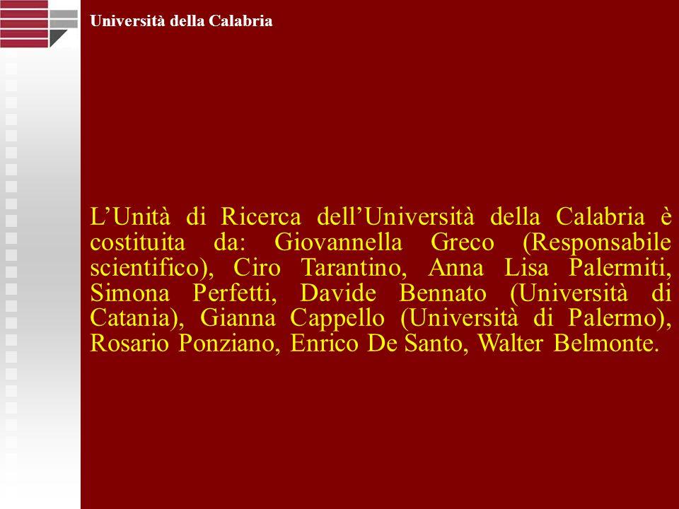 Università della Calabria LUnità di Ricerca dellUniversità della Calabria è costituita da: Giovannella Greco (Responsabile scientifico), Ciro Tarantin