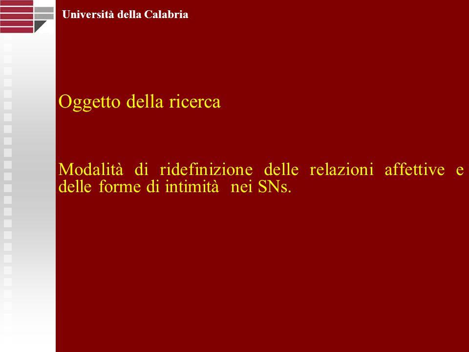 Oggetto della ricerca Modalità di ridefinizione delle relazioni affettive e delle forme di intimità nei SNs. Università della Calabria