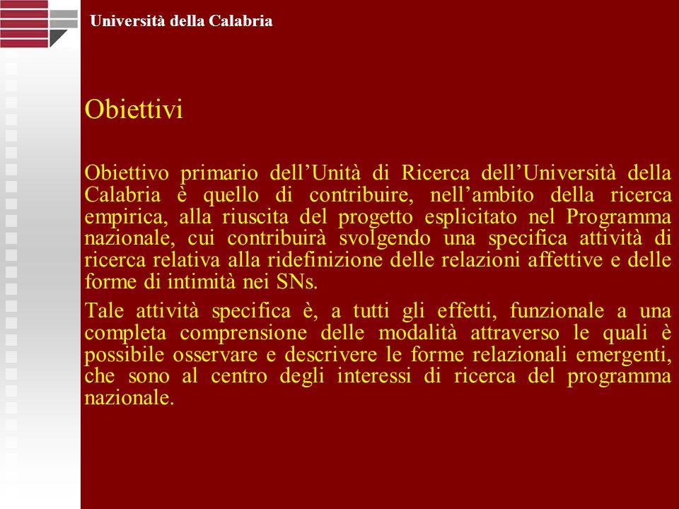 Obiettivi Obiettivo primario dellUnità di Ricerca dellUniversità della Calabria è quello di contribuire, nellambito della ricerca empirica, alla riusc