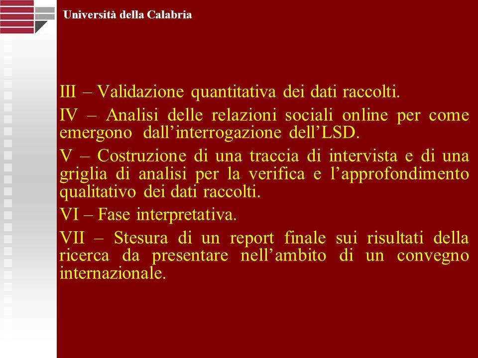 III – Validazione quantitativa dei dati raccolti. IV – Analisi delle relazioni sociali online per come emergono dallinterrogazione dellLSD. V – Costru
