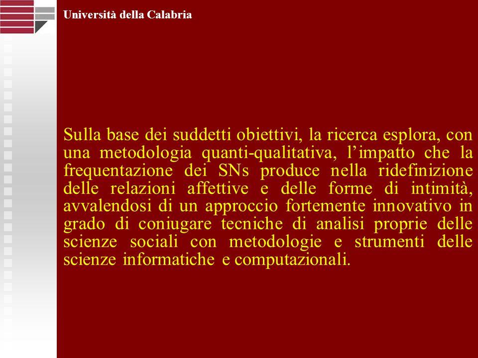 Università della Calabria Sulla base dei suddetti obiettivi, la ricerca esplora, con una metodologia quanti-qualitativa, limpatto che la frequentazion