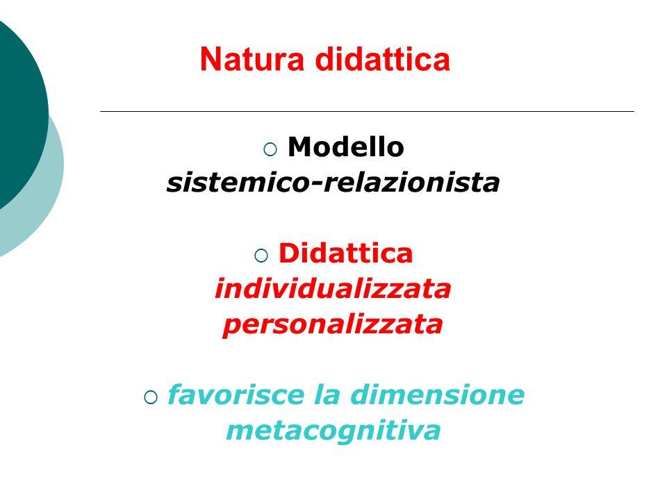 Natura didattica Modello sistemico-relazionista Didattica individualizzata personalizzata favorisce la dimensione metacognitiva