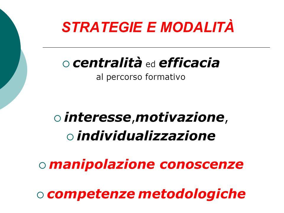 STRATEGIE E MODALITÀ centralità ed efficacia al percorso formativo interesse, motivazione, individualizzazione manipolazione conoscenze competenze met