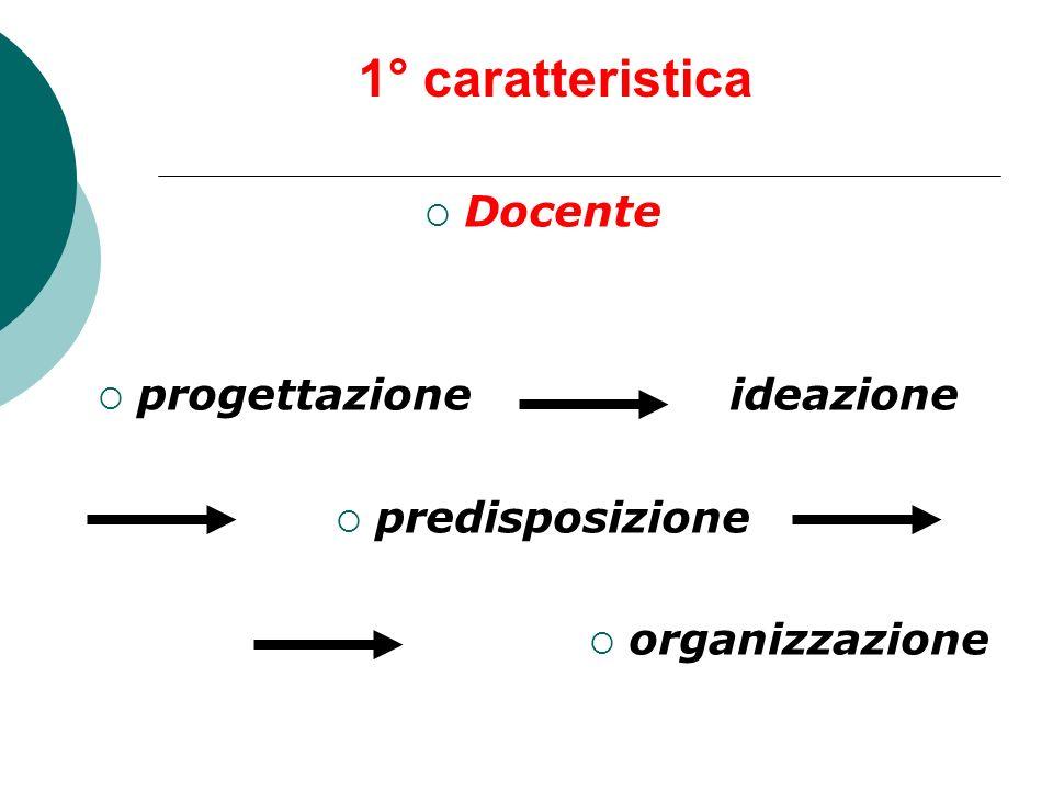1° caratteristica Docente progettazioneideazione predisposizione organizzazione