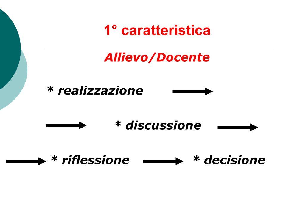 1° caratteristica Allievo/Docente * realizzazione * discussione * riflessione * decisione