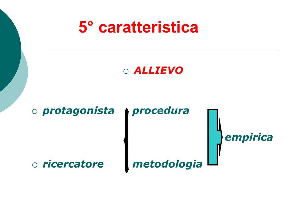 5° caratteristica ALLIEVO protagonista procedura empirica ricercatore metodologia