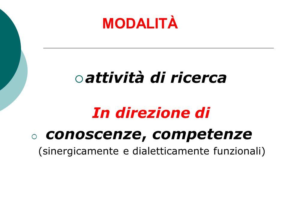 MODALITÀ attività di ricerca In direzione di conoscenze, competenze (sinergicamente e dialetticamente funzionali)